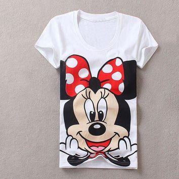 ONETOW Summer 2017 New T-shirts For Women cartoon minnie mouse printed T-shirt Top Harajuku Tops Shirt Female T-shirt basic T Shirt