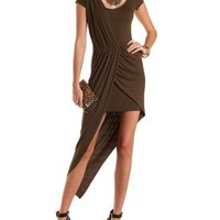 Draped Asymmetrical Bodycon Dress by Charlotte Russe