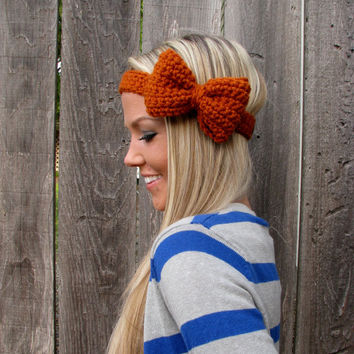Burnt Orange Crochet Bow Headband w/Natural Vegan Coconut Shell Buttons Adjustable Hair Band Girl Woman Teen Head Wrap Cute Knit Accessories