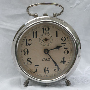 French vintage jaz alarm clock, art deco, 1930s clock, vintage alarm clock, French vintage clock, alarm clock, antique alarm clock