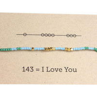 I Love You 143 Friendship Bracelet - Blue/Emerald