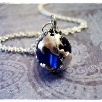 Blue Earth Necklace in Pewter