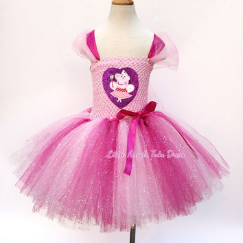 Peppa Pig Pink Toddler Tutu Dress, Handmade Baby Girls Fancy Dress Costume, Glitter Pink with Fully Lined Top, Birthday Party Dress