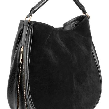 Hobo bag with suede details - Black - Ladies | H&M GB