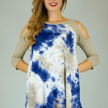 Tie-Dye Cold Shoulder Top