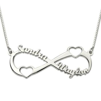 AILIN Double Heart Infinity Name Necklace Sterling Silver Personalized Eternity Love Necklace for Women