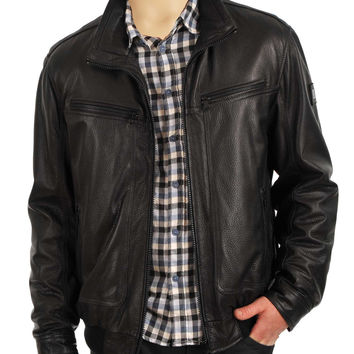 Black leather jacket with collars