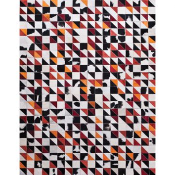 ZAG FULL MOON QUILTED HIDE RUG - BLACK & RED