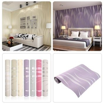 New Arrival 10M Home Improvement High-End Luxury 3D Wave Flocking Wallpaper Rolls Top Selling
