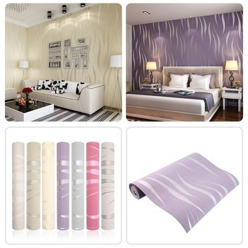 10M Home Improvement High-End Luxury 3D Wave Flocking Wallpaper Rolls new arrival