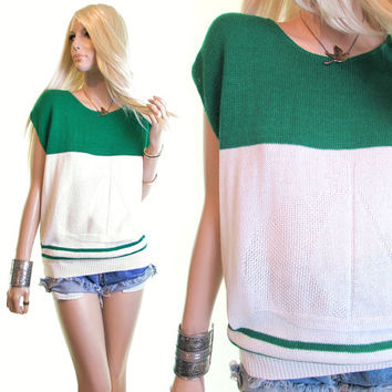 petits voiliers knit top sailboat sweater green white preppy shirt knit sweater marine sailor dress top vintage 70s sweater womens clothing