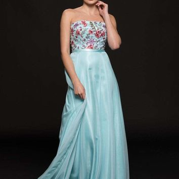 Glow by Colors - G787 Multi-Colored Embellished Chiffon A-line Dress