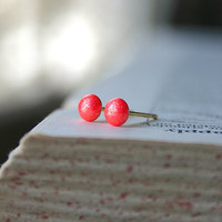 Tiny Gem Studs - 1.5mm-4.5mm, Seven Sizes:  Golden Neon Coral