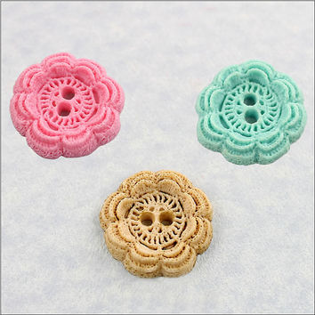 Button Mold Crochet Look Resin, Fondant, Polymer Clay, Wax, Chocolate (358)