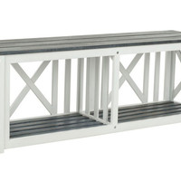 "Stratford 51"" Outdoor Bench, White/Gray, Outdoor Benches"