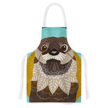 "Art Love Passion ""Otter in Water"" Blue Brown Artistic Apron"
