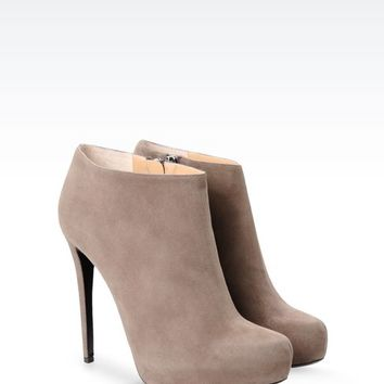 Emporio Armani Women Ankle Boots - SUEDE ANKLE BOOT WITH PLATFORM Emporio Armani Official Online Store