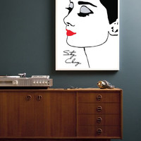 Audrey Hepburn Poster, Home Decor, Beauty Print, Wall Art, Glamour, Fashion Illustration, Minimalist Poster.