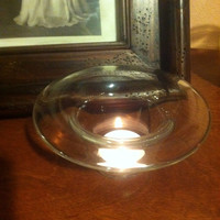 Hand Blown Glass Votive Holder / Candle Holder.  Simple Elegance in Clear Glass