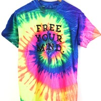 Free Your Mind. Bright Rainbow Tie-Dye Graphic Unisex Tee
