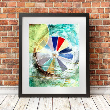 Color Wheel, Mixed media print, 8x10, giclee poster, graphic design, creative gift, studio decor, office art, pie chart, collage art, artist