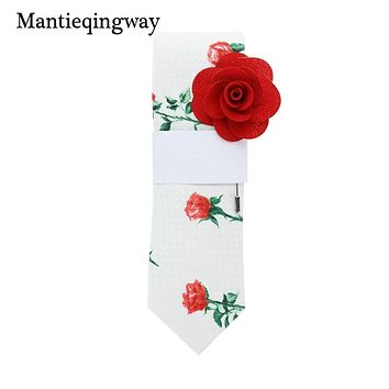 New Designers Neck Ties For Men Rose Flower Pattern Neckties For Wedding Party Skinny Tie With Brooch Sets