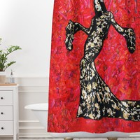 Amy Smith Gold and Lace Shower Curtain And Mat
