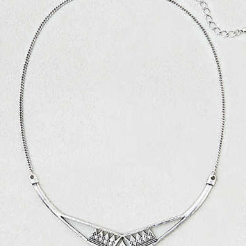 AEO Gold Etched Collar Necklace, Silver