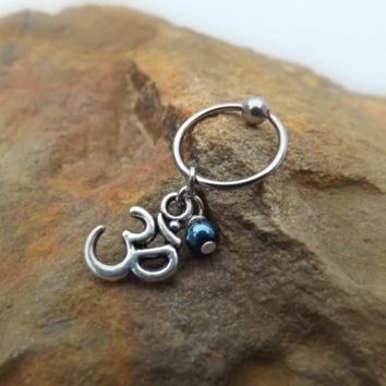 Ohm Cartilage Earring with Purple Blue Bead Captive Hoop Body Jewelry 18ga 16ga