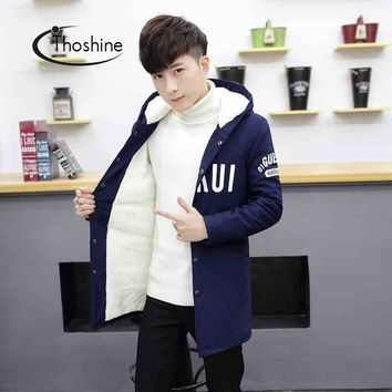 Thoshine Spring Autumn Winter Men Thick Parkas Male Hooded Coats Teenager Thermal Warm Jackets Youth Fleece Flocking Clothes