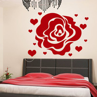 Flower Wall Decals Rose Hearts Love Flowering Blossom Stickers Living Room Decor Vinyl Decal Sticker Art Mural Bedroom Kids Room Decor MR312