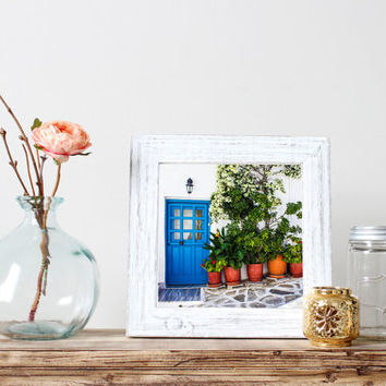 Greece print, square, blue door, travel photography, Greek home, cobblestone, flower pots, white wash, architecture, wall art, home decor