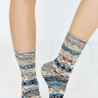Brown Geometric Boot Sock - Urban Outfitters