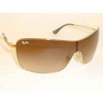New RAY BAN Shield Sunglasses Gold Frame RB 3466 001/13 Gradient Brown Lens
