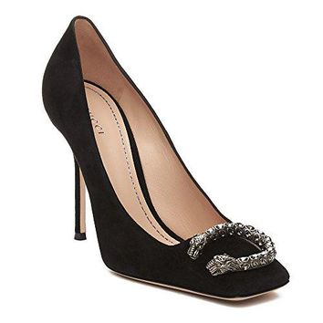 Gucci Women's Suede Embellished Square-Toe Pump Shoes Black
