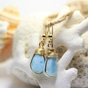 Dominican Blue Larimar Gold Filled Wire Wrapped Dangle Drop Earrings GF Atlantis Teardrop stone Beach Fashion Rustic Boho girls women