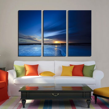 3 Piece Blue Night Ocean Canvas Print, Framed Giclee Blue Morning Large Canvas Print, 3 Panel Wall Art, 3 Panel Canvas Print, Beach Wall Art