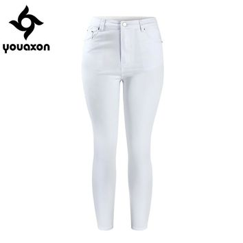 2058 Youaxon Women`s New White Cropped High Waist Stretch Denim Skinny Ankle Jeans Jean Capris For Woman