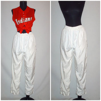 Vintage 1980s White Windbreaker Sweat Pants Lavon