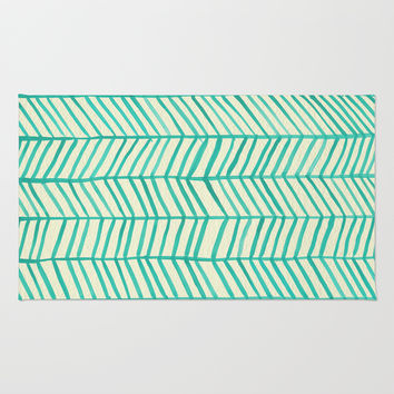 Mint Herringbone Rug by Cat Coquillette
