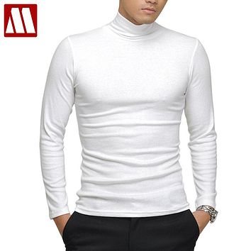 100% quality Men's long-sleeve T-shirt Sexy turtleneck high-elastic lycra cotton t shirt 7 colors S-XXXL st-803 Free shipping