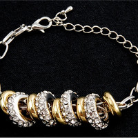 18K Silver Plated 9-Ring Design Alloy Bracelet