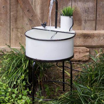 White Garden Sink Fountain