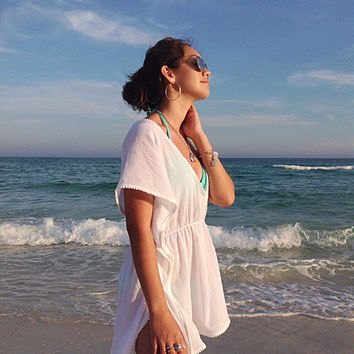 Beach cover up, Short coverup with Pom poms, swimsuite coverup, gauze coverup, cotton kaftan-must have for any beach vacation