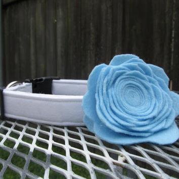 Dog Collar and Flower - SKY BLUE Felt Rose Flower and White dog Collar - dog collar and flower, Felt Dog Flower, Wedding Dog Collar
