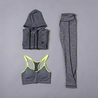 DCCKHN1 Innersy 2016 New Yoga Sets Women Gym Clothes Cotton Blends Material Breathable Sports Bra + Pants + Shirt Yoga Set Women Jzh116