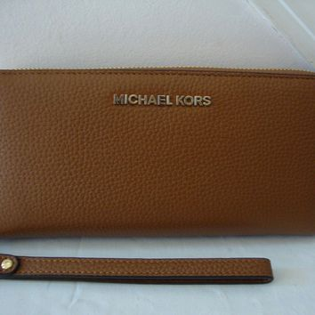 ~* NWT MICHAEL KORS Jet Set Travel Continental Pebbled Leather Wallet Luggage