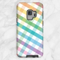 Rainbow Gingham Pattern Samsung Galaxy S9 Tough Case