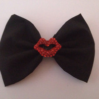 Rocky Horror Picture Show Inspired Hair Bow Hairbow Red Diamante Lips Goth Gothic Emo Scene