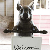 Pig Statue with Ceramic Dry Erase Message Board 16-in H